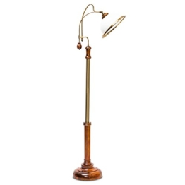 Relaxdays Stehlampe Jugendstil Glasschirm Holzfuß hochwertig, verziert 10018993 - 1