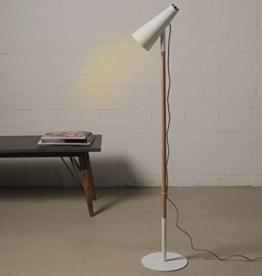 Stehlampe 139cm weiß mit Touch-Sensor Holz Design Modern Lampe Leuchte 3,5m Kabel - 1