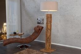 Stehlampe Holz Designerleuchte 160cm aus echtem Teakholz Leinen Schirm Moderne Wohnzimmer Lampe - 1