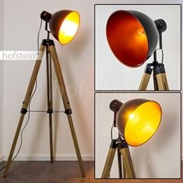 Stehleuchte Egmont aus Metall in Schwarz und Holz – Vintage Bodenleuchte – Fluter für Schlafzimmer, Wohnzimmer, Esszimmer – Retro-Standlampe mit großem, schwenkbarem Lampenschirm - 1
