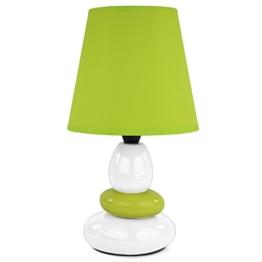 Tischleuchte Tischlampe Steinoptik Nachttischlampe Nachttischleuchte Schreibtischlampe Lampe Leuchte grün weiß 4106 Höhe : 31 cm - 1