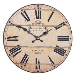 Vevendo Wanduhr - London 1879 - Holz Küchenuhr mit großem Ziffernblatt aus MDF, Retro Uhr im angesagtem Shabby Chic Design mit leisem Quarz-Uhrwerk, Ø: 32 cm - 1