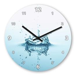 Wanduhr mit Motiv - Wassertropfen - aus Echt-Glas | runde Küchen-Uhr | große Uhr modern - 1