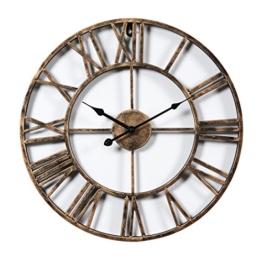 Wanduhr Vintage Lautlos, OviTop Wanduhr Groß 50cm Wanduhr Metall Dekorative Wanduhr ohne Tickgeräusche für küche Wohn- und Schlafzimmer - Golden - 1