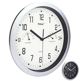 Wanduhr von Mebus mit Thermometer und Hygrometer Küchenuhr Schwarz Silber 25cm (Weiß) - 1