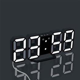 Xshuai 21,5 * 8,7 * 4 cm 3 Helligkeitsstufen automatische dimmen Moderne Digital LED Tisch Schreibtisch Nacht Wanduhr Alarm Uhr 24 oder 12 Stunden Display (A) - 1
